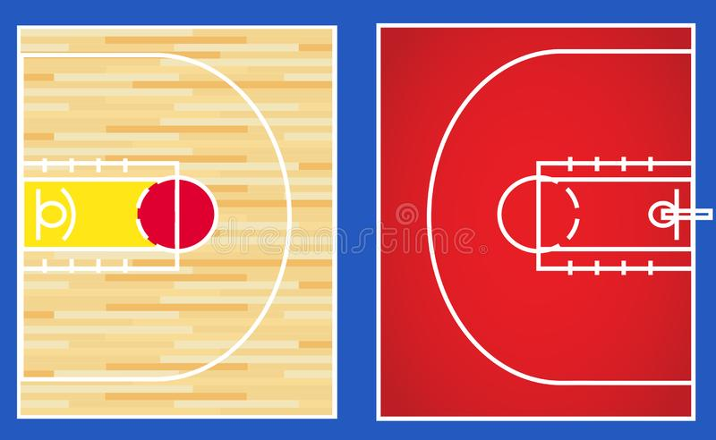 Vecteur de cour du basket-ball 3x3 illustration stock