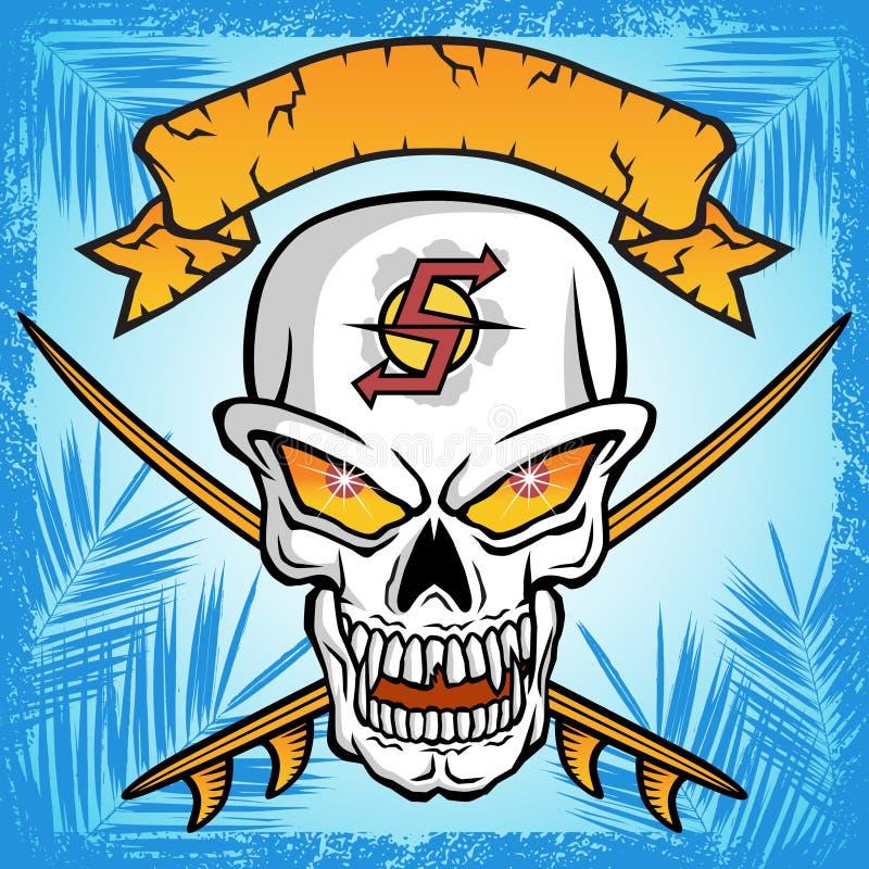 Vecteur de crâne avec deux planches de surf, bannière illustration de vecteur