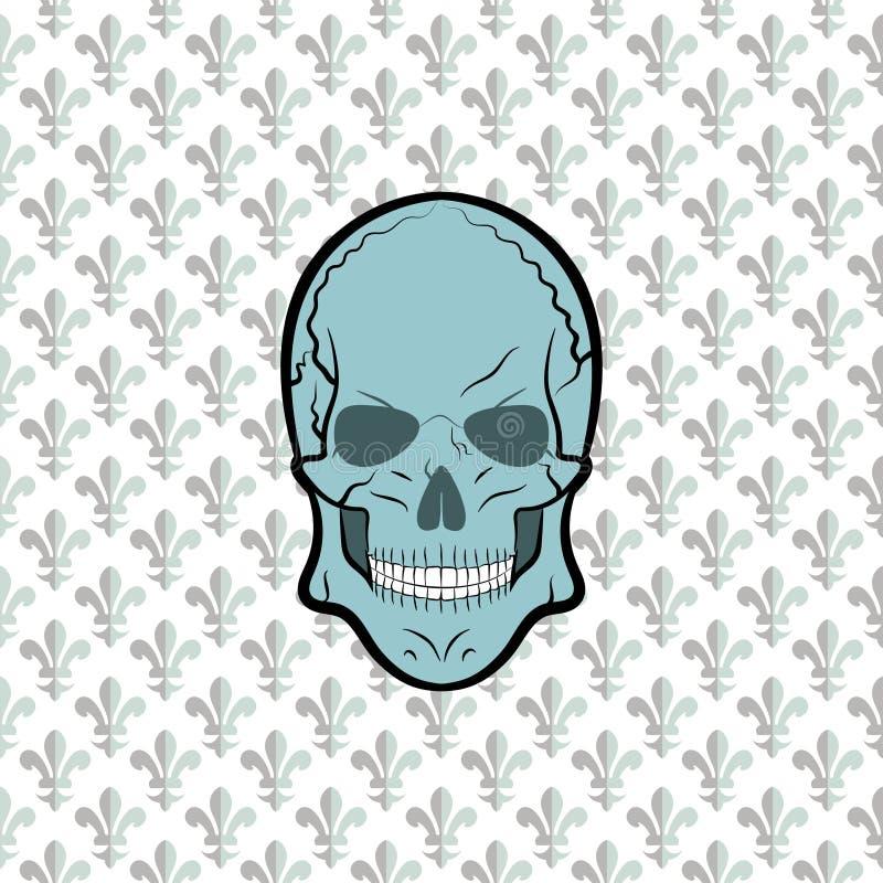 Vecteur de crâne, fleur de lis de fond photographie stock libre de droits