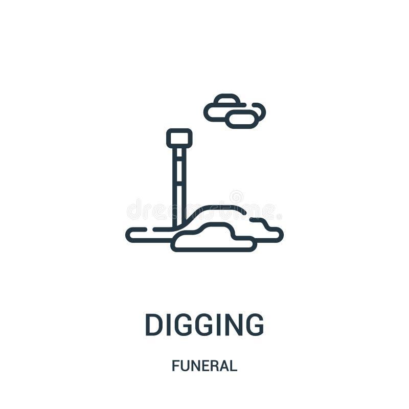 vecteur de creusement d'icône de la collection funèbre Ligne mince illustration de creusement de vecteur d'icône d'ensemble Symbo illustration stock