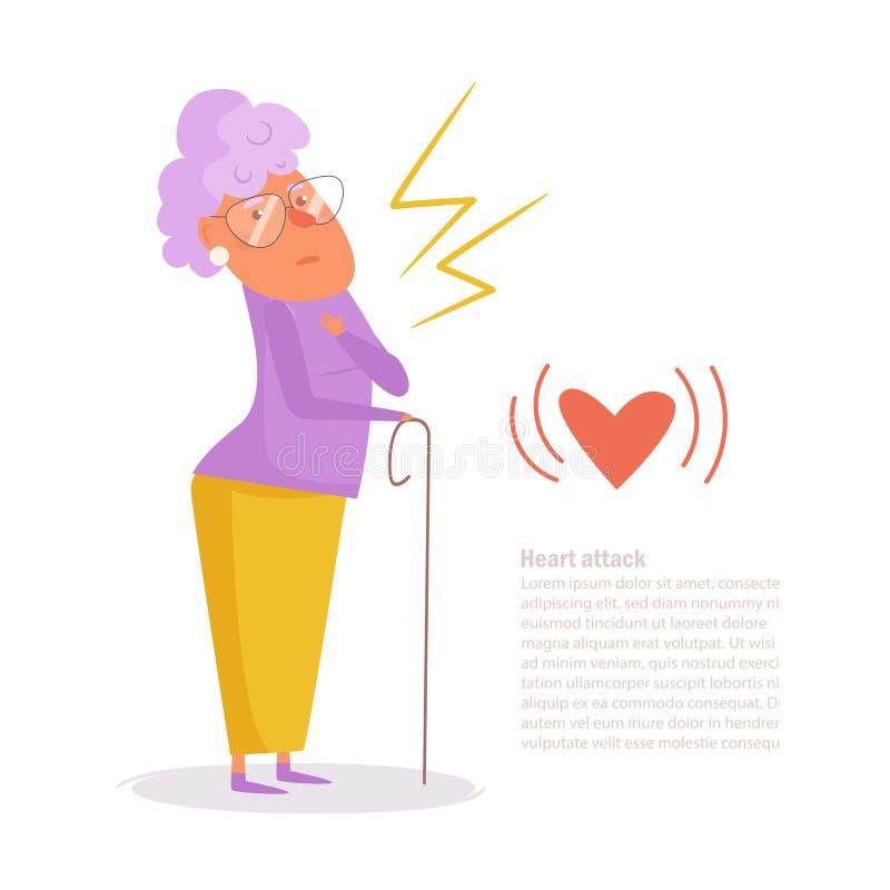 Vecteur de crise cardiaque de femme cartoon art sur le fond blanc plat illustration de vecteur