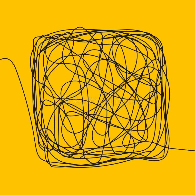 Vecteur de croquis de gribouillage d'embrouillement Place de dessin Noeud de boucle de fil Chaos, intellect Illustration illustration de vecteur