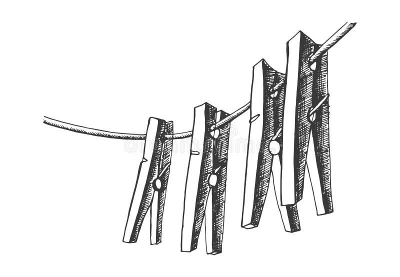 Vecteur de croquis de pinces à linge dessin d'isolement d'objet illustration stock
