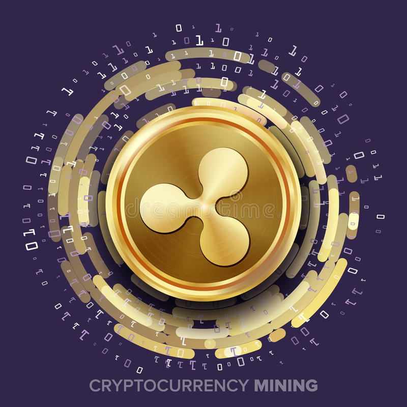 Vecteur de Cryptocurrency d'ondulation d'exploitation Pièce de monnaie d'or, courant de Digital illustration de vecteur