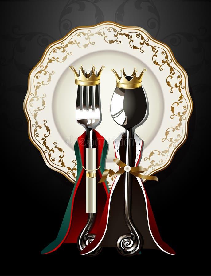 Vecteur de cuillère et de fourchette en roi et tissu de la Reine de plat de luxe illustration libre de droits