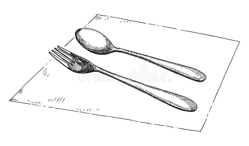 Vecteur de dessin de main de fourchette et de cuill re illustration de vecteur illustration du - Cuillere dessin ...