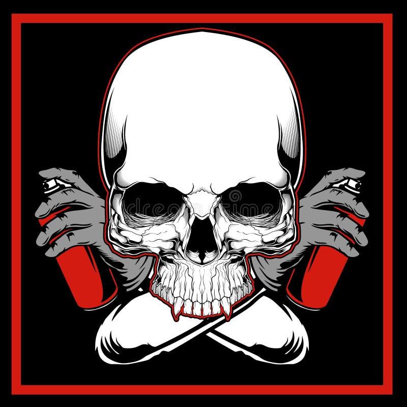 Vecteur de dessin de main de graffiti de peinture de crâne de vecteur illustration libre de droits