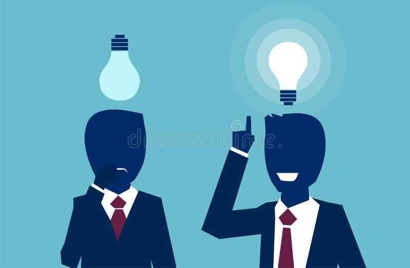 Vecteur de deux hommes d'affaires pensant regarder les ampoules une ayant une idée lumineuse un autre sentiment confus illustration stock