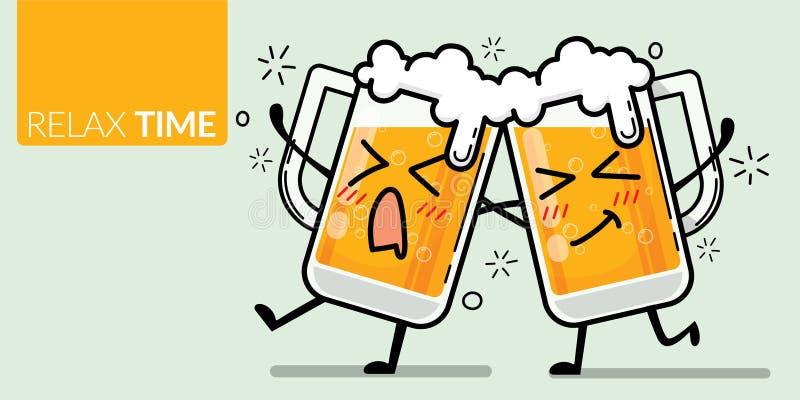 Vecteur de deux verres de bière avec un visage drôle pour émotion ivre avec le texte temps de détente illustration stock