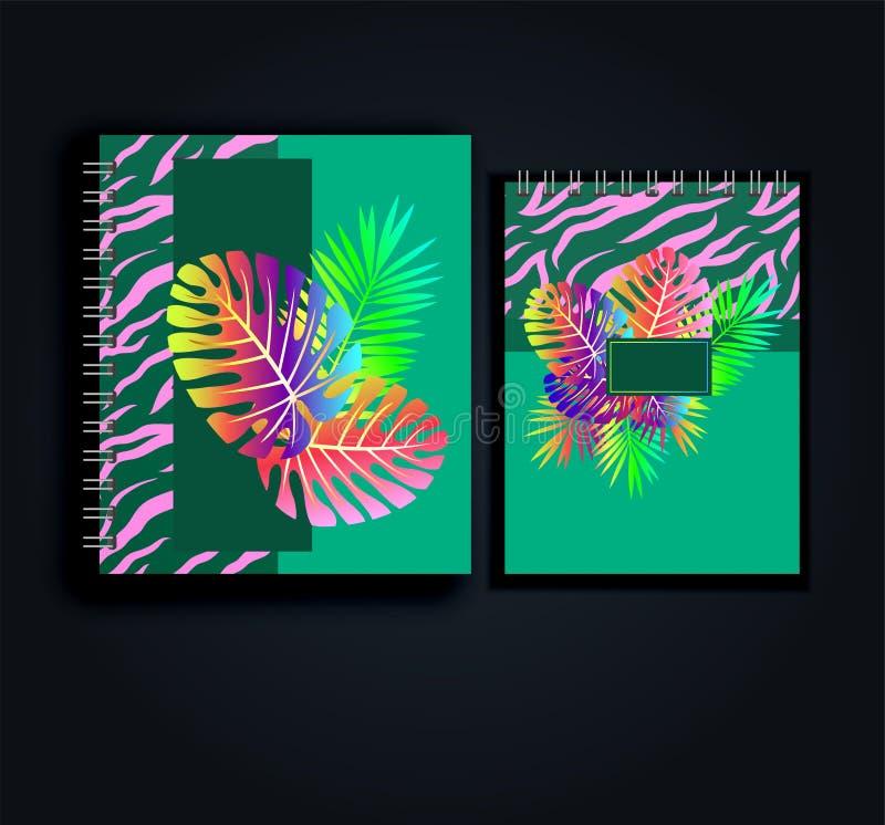 Vecteur de disposition de conception pour le bloc-notes, le planificateur, le journal intime - style tropical et le modèle animal illustration de vecteur