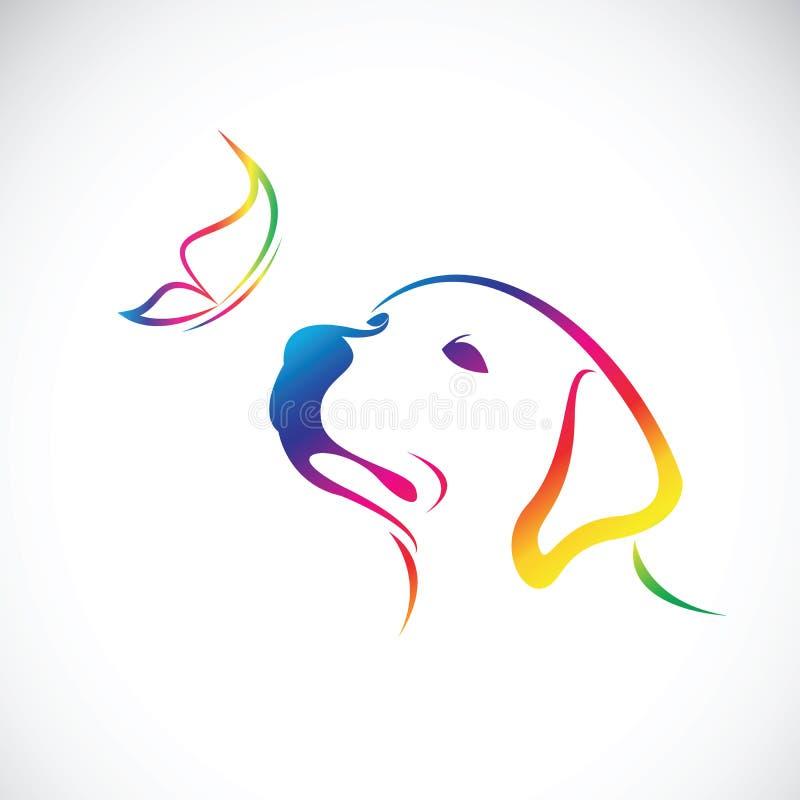 Vecteur de doglabrador et de papillon sur le fond blanc pet illustration stock