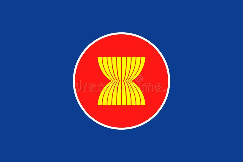 Vecteur de drapeau d'ASEAN Vecteur d'isolement par drapeau original de la communauté économique d'ASEAN et simple dans des couleu illustration de vecteur