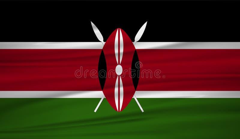 Vecteur de drapeau du Kenya Dirigez le drapeau du blowig du Kenya dans le vent illustration de vecteur