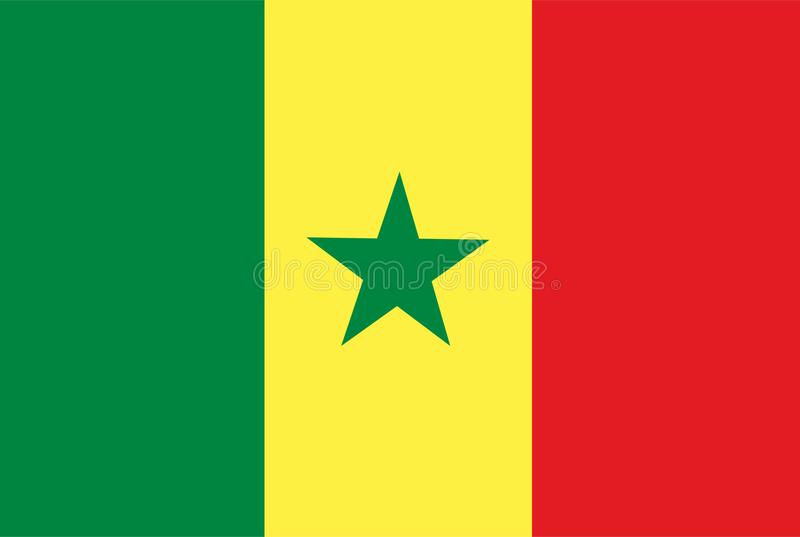 Vecteur de drapeau du Sénégal Illustration de drapeau du Sénégal illustration stock
