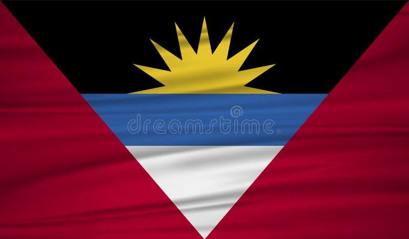 Vecteur de drapeau de l'Antigua-et-Barbuda Blowig de drapeau de l'Antigua-et-Barbuda de vecteur dans le vent illustration libre de droits