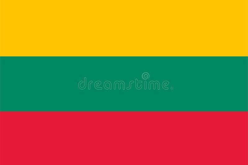 Vecteur de drapeau de la Lithuanie Illustration de drapeau de la Lithuanie illustration de vecteur