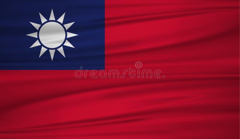 Vecteur de drapeau de Taïwan Dirigez le drapeau du blowig de Taïwan dans le vent illustration stock