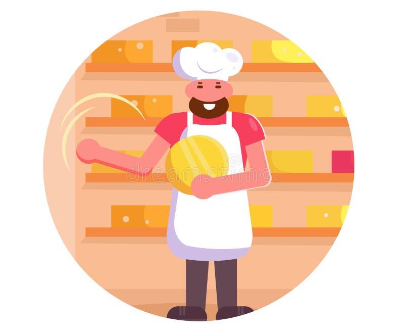 Vecteur de fabricant de fromage cartoon Art d'isolement plat illustration libre de droits