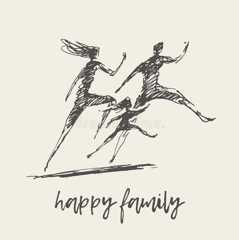 Vecteur de famille de logo de silhouette d'enfant de père de mère illustration libre de droits