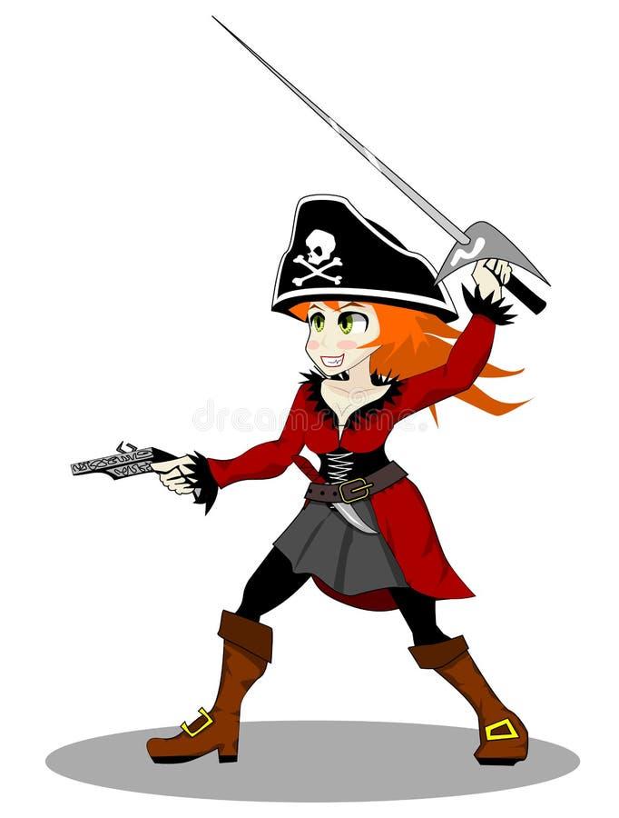 Vecteur de femme de pirate illustration libre de droits