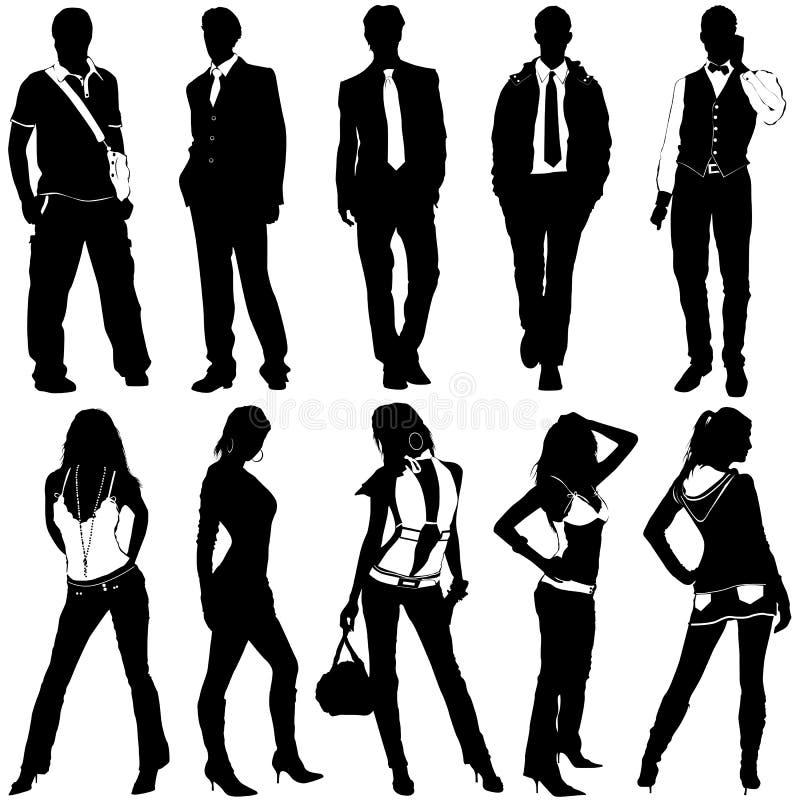Vecteur de femmes et d'hommes de mode illustration stock