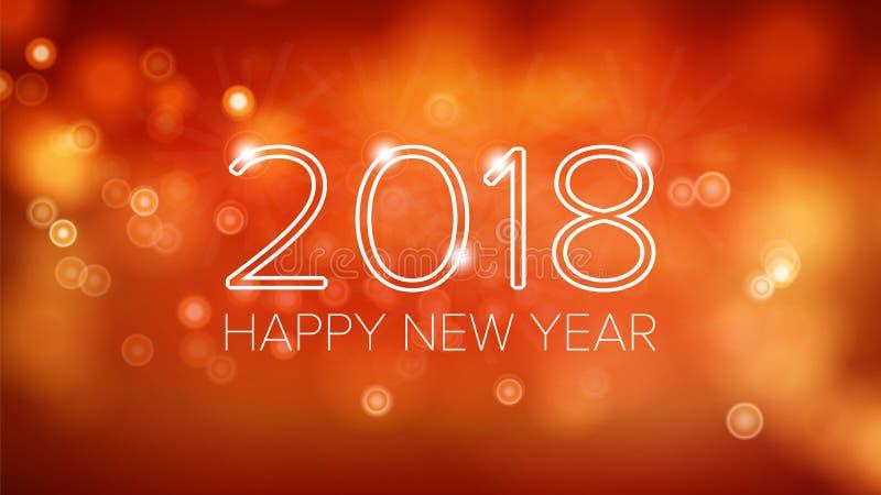 Vecteur 2018 de fond de bonne année Bokeh orange dans le style de vintage Calibre 2018 de conception d'insecte ou de brochure fes illustration stock
