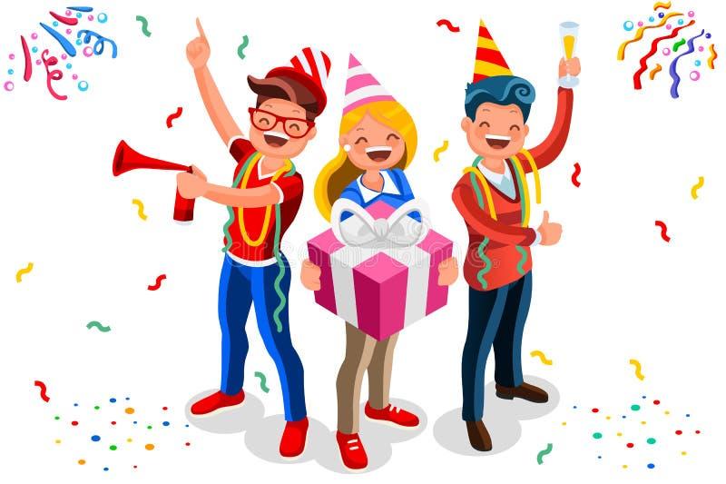 Vecteur de fond de célébration de caractère de joyeux anniversaire illustration libre de droits
