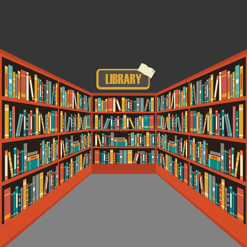 Vecteur de fond d'étagères à livres de bibliothèque photos stock