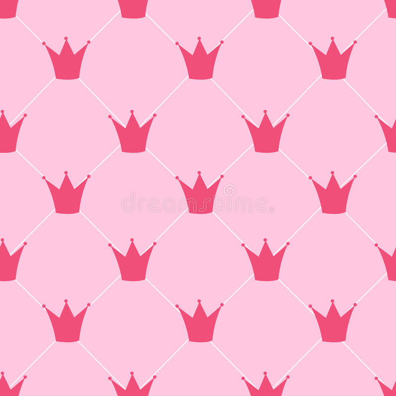 Vecteur de fond de princesse Crown Seamless Pattern illustration libre de droits