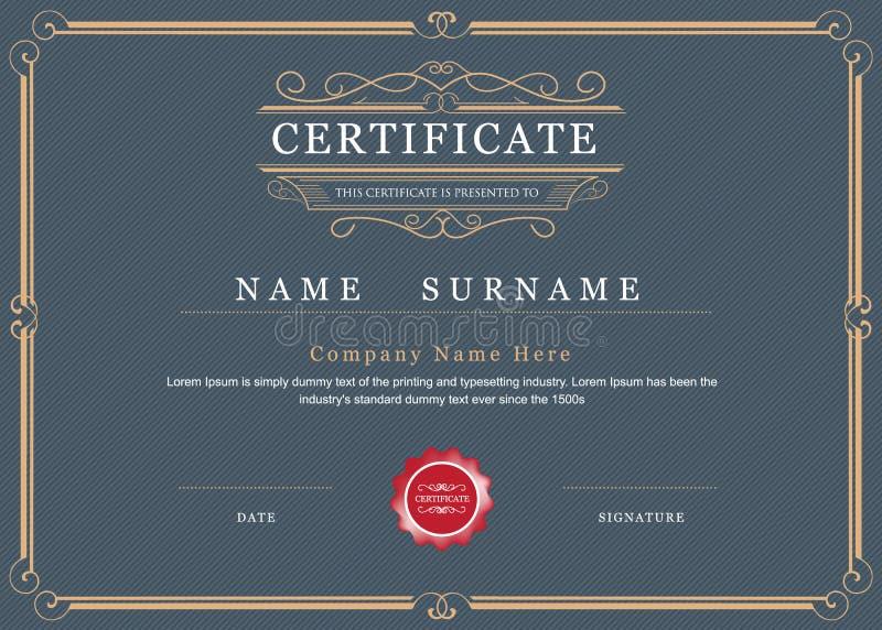 Vecteur de frontière de cadre d'accomplissement de certificat élégant illustration de vecteur