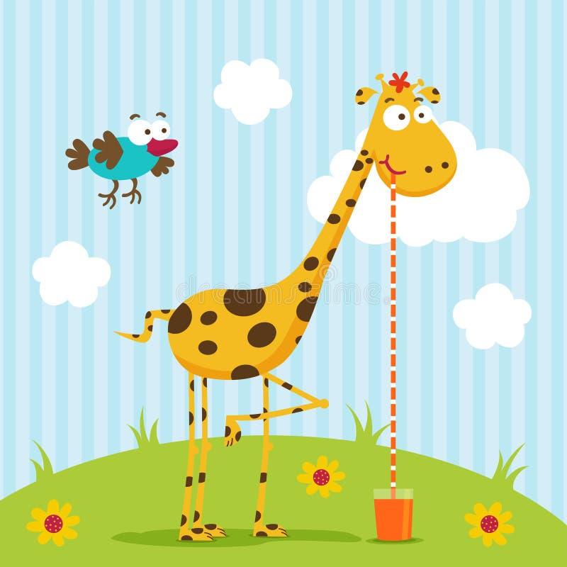 Vecteur de girafe et d'oiseau illustration libre de droits
