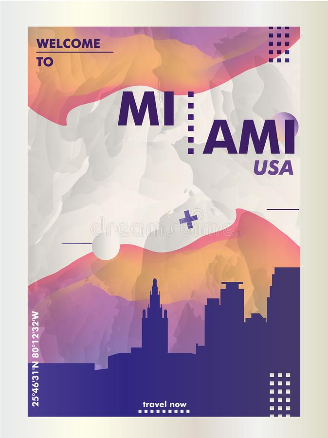 Vecteur de gradient de ville d'horizon des Etats-Unis Etats-Unis d'Amérique Miami illustration stock