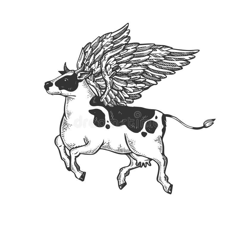 Vecteur de gravure d'animal de ferme de vache à vol illustration stock
