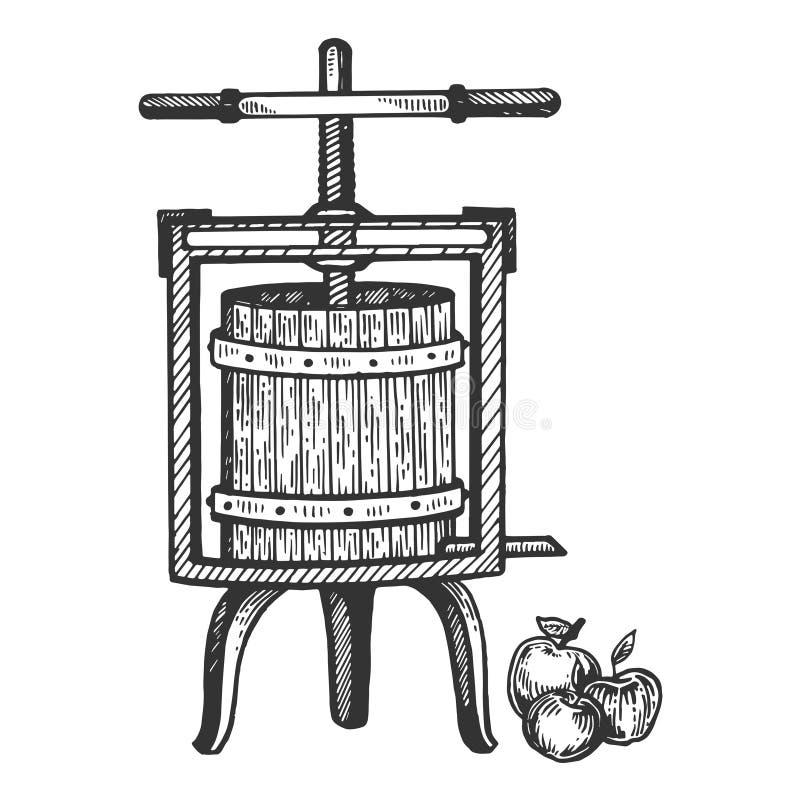 Vecteur de gravure de presse de jus de cidre d'Apple illustration libre de droits