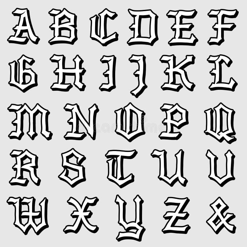 Vecteur de griffonnage d 39 un alphabet gothique complet - Alphabet complet ...