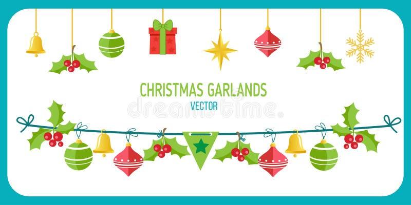 Vecteur de guirlande de Noël Agrafe Art On White Background de vecteur de vacances d'hiver Nouvelle année Garland Decorations illustration libre de droits