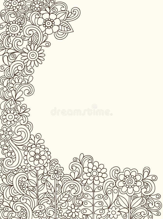 Vecteur de jardin de fleur de griffonnage de henné illustration libre de droits