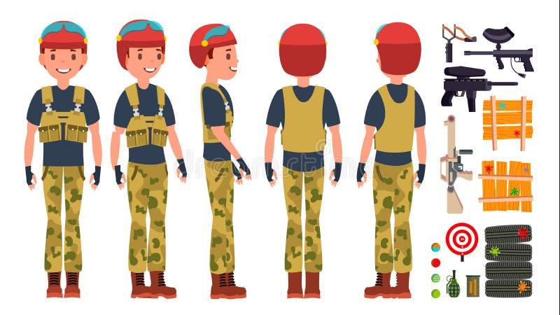Vecteur de joueur de Paintball Gamer professionnel Lumineux éclabousse uniforme concours Arme de Paintball Paintball d'homme illustration stock