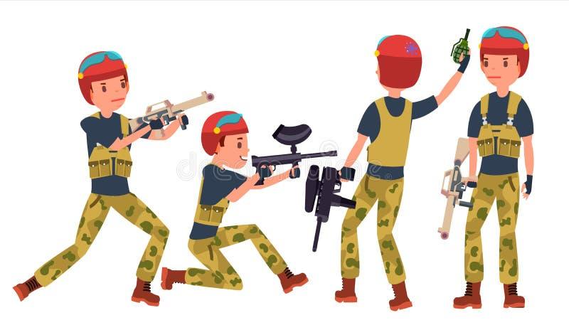 Vecteur de joueur de Paintball Sport professionnel Tenir l'arme de Paintball Joueur de paintball d'homme Sur la bande dessinée bl illustration stock