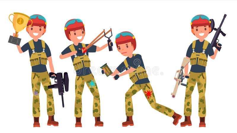 Vecteur de joueur de Paintball Tir, fonctionnant Équipiers dans différentes poses canon Compétitions sportives de bataille cartoo illustration de vecteur