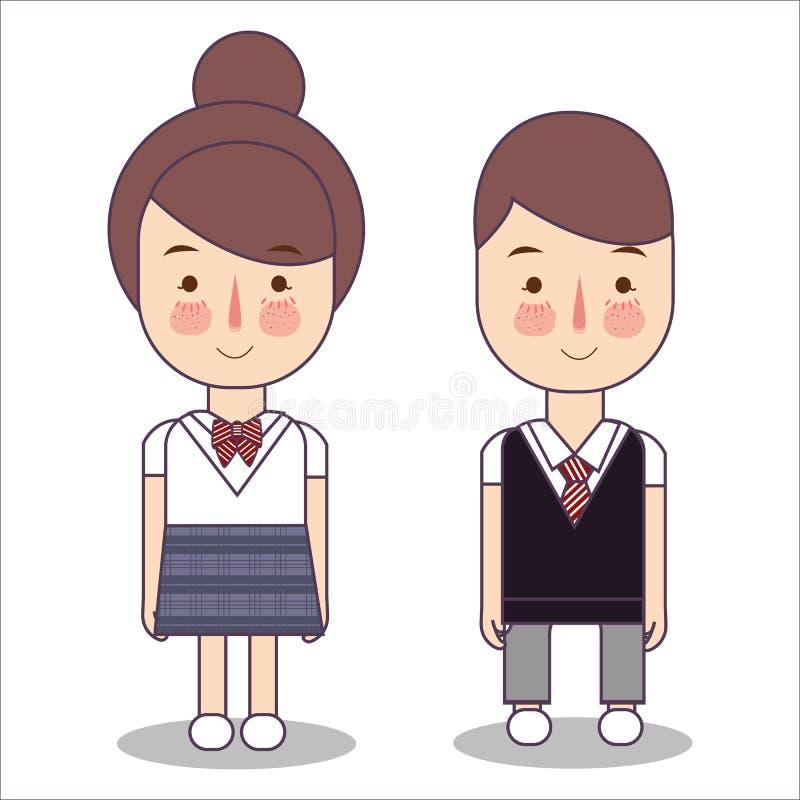 Vecteur de Junior High School Students Design d'adolescent du Japon portant leur uniforme Garçon asiatique d'illustration de cara illustration stock