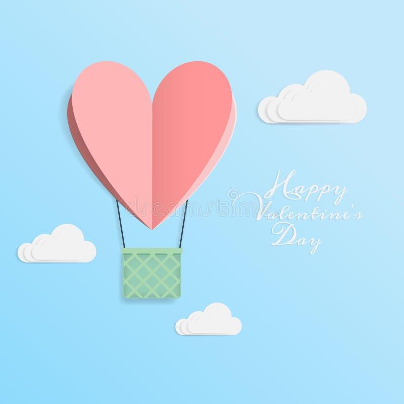 Vecteur de l'amour et de la Saint-Valentin heureuse l'origami conçoit des éléments que le papier de coupe a fait le ballon à air  illustration libre de droits