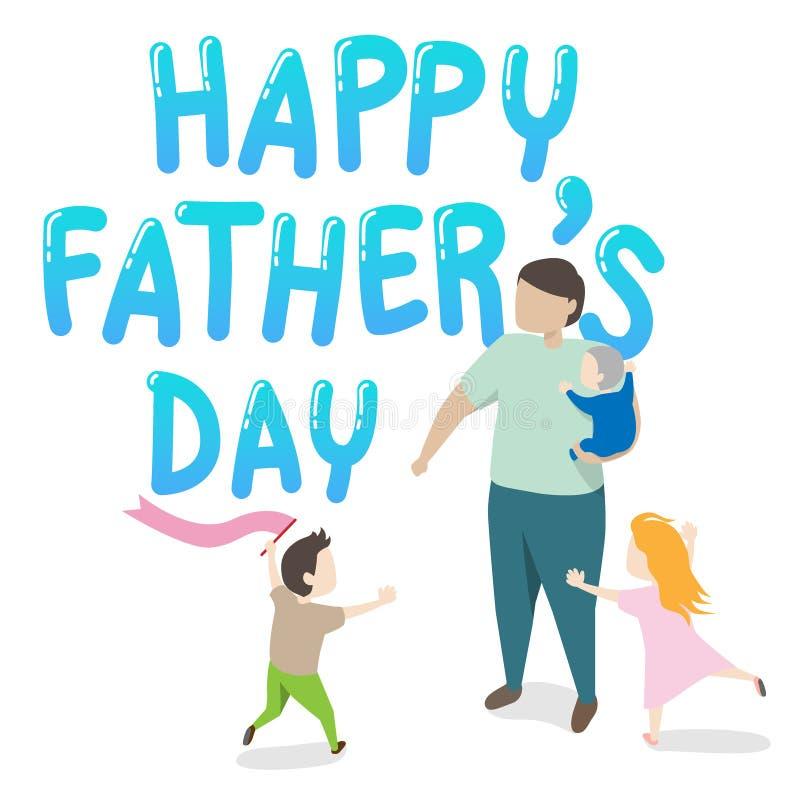 Vecteur de la carte de voeux heureuse du jour de père père tenant un enfant dans son bras avec deux enfants jouant autour grande  illustration de vecteur