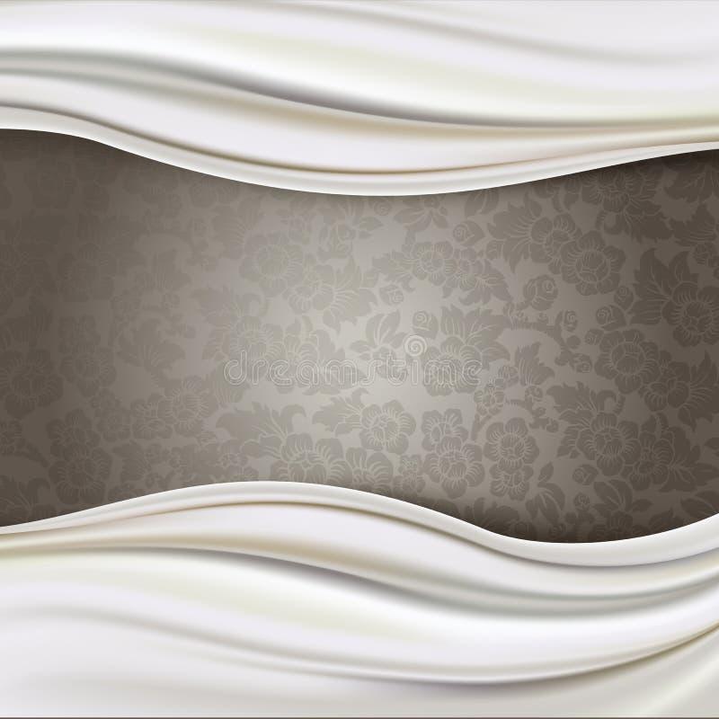 Vecteur de la frontière ene ivoire de tissu en soie sur le fond de modèle de Brown illustration stock