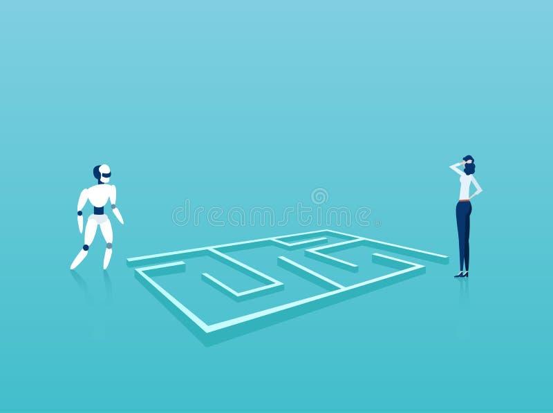 Vecteur de la position de femme d'affaires et de robot à côté du labyrinthe recherchant les solutions créatives illustration libre de droits