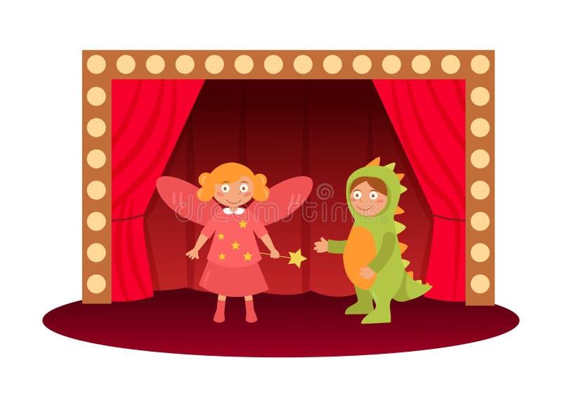 Vecteur de la représentation théâtrale des enfants cartoon Art d'isolement sur le fond blanc illustration de vecteur