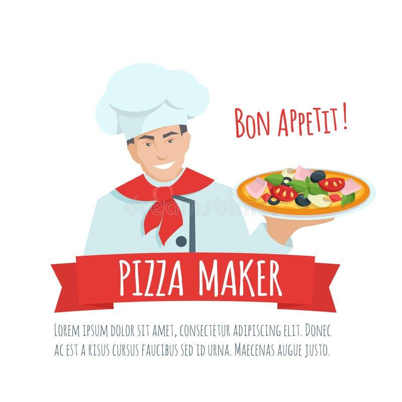Vecteur de label de fabricant de pizza illustration de vecteur