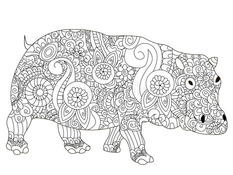 Vecteur de livre de coloriage d 39 hippopotame pour des - Dessin d hippopotame ...