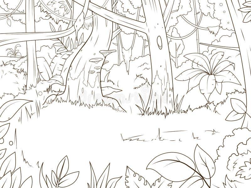 Vecteur de livre de coloriage de bande dessinée de forêt de jungle illustration de vecteur
