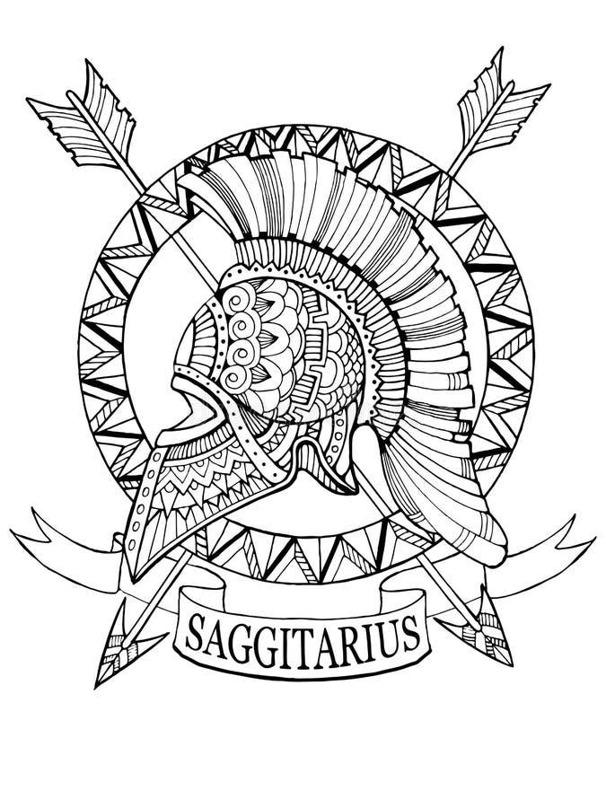 Vecteur de livre de coloriage de signe de zodiaque de Sagittaire illustration libre de droits
